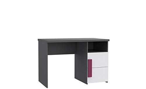 Furniture24 Schreibtisch Libelle LBLT21, Computertisch, Jugendschreibtischtisch, Arbeitstisch, Kinderschreibtisch mit Tür (Grau/Weiß/Violett)