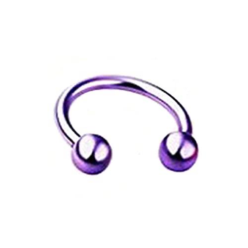 PPuujia 1 anillo de nariz falsa en forma de herradura de acero inoxidable con perforación de labio septal anillo de nariz Farr para mujeres y hombres (color metálico: B púrpura)
