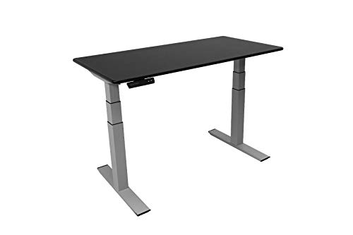 ZipDesk Quick Install Premium Home & Office Desk - 24' x 47' - Black Top - Silver Base - Height Adjustable Sit Stand Desk