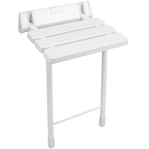 PrimeMatik - Asiento de Ducha abatible. Silla Plegable con pies de plástico y Aluminio color blanco 320x328mm