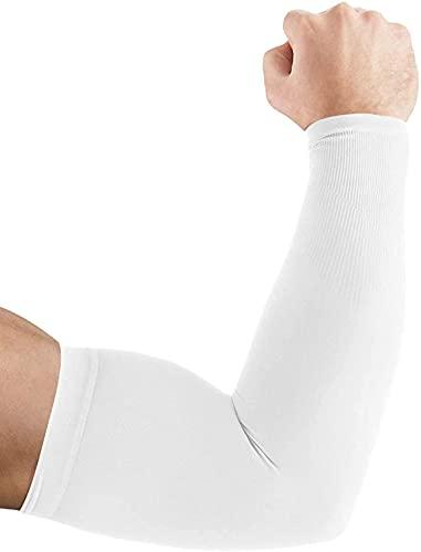 Ancokig Sports Mangas del Brazo Mangas Enfriamiento de Protección UV Largo Mangas de Sol para Deportes Ciclismo Baloncesto Corriendo Golf para Mujer Hombre (Blanco-1pares)