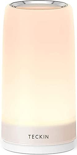 Lampada da Tavolo Controllo Touch 3 Livelli Luce Bianca Calda Regolabile RGB Multicolor Lampada da Scrivania TECKIN Lampada Notturna Adatto a Camera da Letto Soggiorn o Uffcio