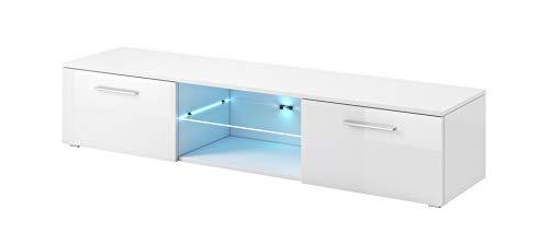 e-Com - TV-Lowboard Fernsehschrank Fernsehtisch Samuel Mit Blauer LED - 150cm - Weiss
