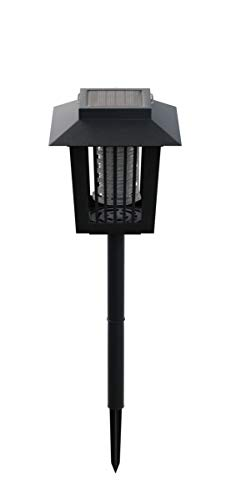 Pure Garden 50-173-MOS Solar Power UV Mosquito and Bug Zapper LED Light – Black