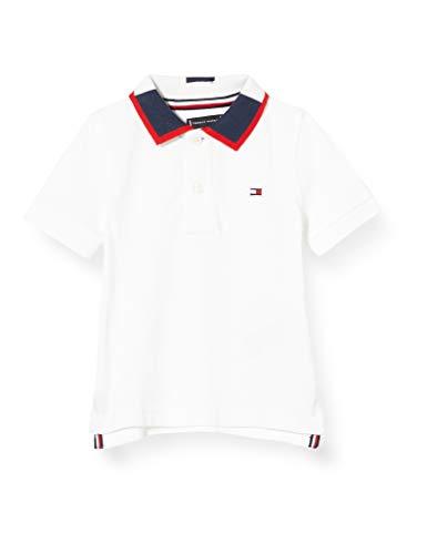 Tommy Hilfiger Jungen Intarsia Collar Polo S/s Poloshirt, Weiß (White 658-170 Ybr), 3-4 Jahre (Herstellergröße: 4)