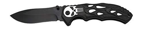 KOSxBO Punisher Messer schwarz Silber - Klappmesser 21 cm Skull - Taschenmesser - Messer extra scharf - Jagdmesser - Einhandmesser - Hunting Knife Black