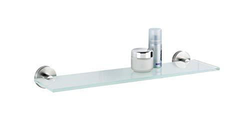 WENKO Glas Wandablage Bosio Edelstahl matt - Badezimmerablage, Edelstahl rostfrei, 46.5 x 5.5 x 13.5 cm, Matt