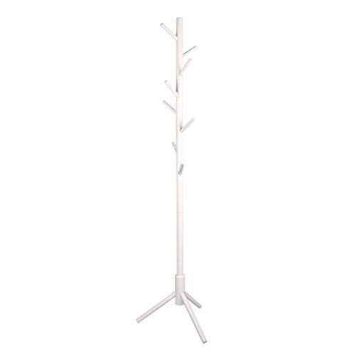 POJAGU Wooden Tree Coat Rack with 3 Adjustable Sizes, 8 Hooks, Easy Assembly Free Standing Solid...