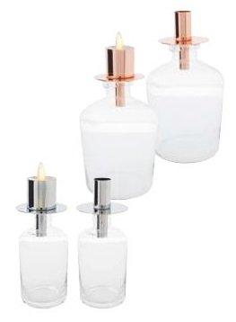 sompex Flaschenkerzenhalter PANE Chrom 7,5 x 8,25cm für Flame Teelicht
