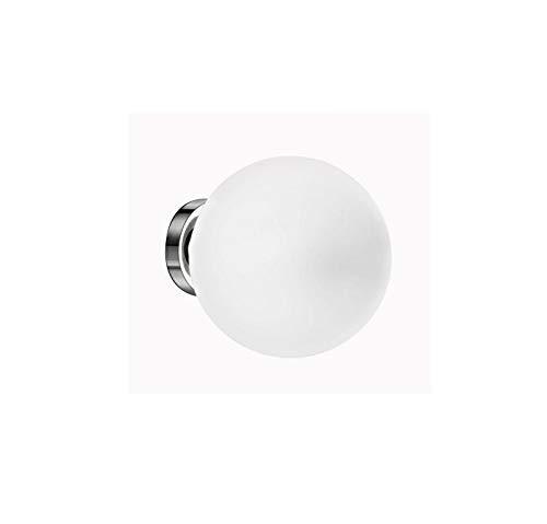 PERENZ Lampada da Parete e Soffitto Cromo lucido con Diffusore a Sfera in Vetro Bianco diametro 20 cm Lampadina 1xE27 max. 60W non inclusa