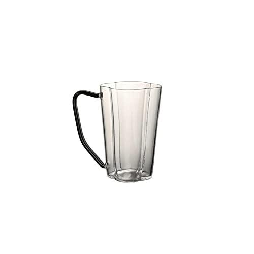 FEINENGSHUAI Vasos de Cristal Taza de Cristal Resistente al Calor, Tazas de Vidrio Transparentes para café Espresso, Taza de té de Gran Capacidad con Mango- 12 oz