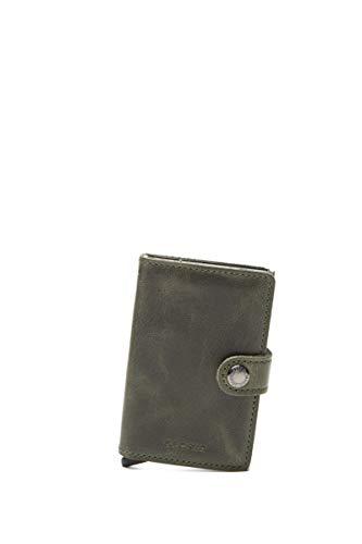 Secrid - Tarjetero rígido de Cuero y Aluminio en Verde