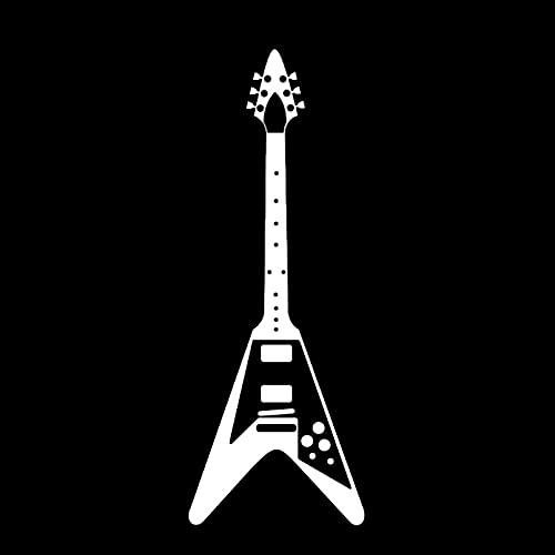 SCSHY Engomada del Coche 5,1 Cm * 13,8 Cm Moda Guitarra Inspirada Música Rock Vinilo Negro/Plata Coche Pegatina