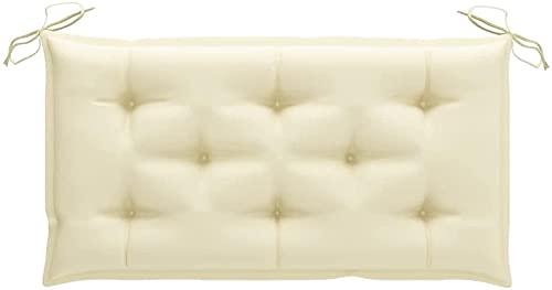 Cojín para banco de jardín, cojín para banco, cojín acolchado, cojín de pared, para asiento exterior, 100 x 50 x 7 cm, color crema