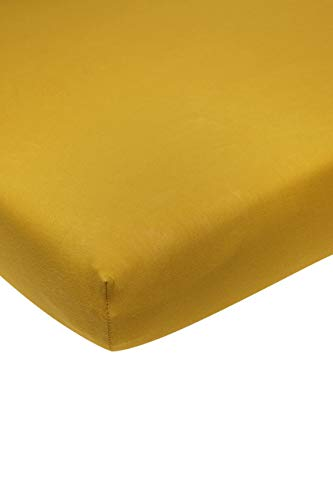 Meyco 566023 Jersey Fitted Sheet Playpen Mattress Play Mat Box Mattress 100% Cotton 75 x 95 cm Ochre Yellow