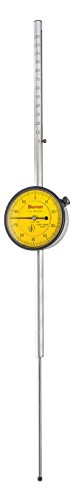 Series 655 Metric Dial Indicator with Long Range, Group 3, 0.01mm Graduation Interval, 0-125mm Range, 0-100 Dial Reading