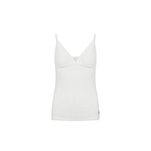 super.natural Camiseta Interior para Mujer con Tirantes Finos, con Lana Merina, W Vivien Rib Top, Talla: S, Color: Blanco