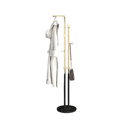 MQH Capa de Metal Base de mármol Base de mármol Nórdico Rack Poder Perching Freestanding Entryway Hall Árboles con 5 Ganchos Decoración para el hogar (Color : Black+Gold)