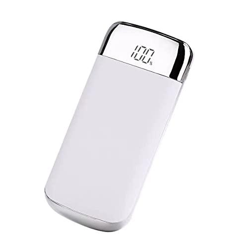 GLNuoke Banco de energía con pantalla LED de 20000 mAh, batería externa, doble salida USB, para iPhone, Samsung, Huawei Smart Phone (color: blanco)