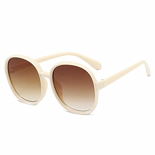 DLSM Gafas de Sol Redondas de la Vendimia de Las Mujeres de la Mujer de la Lente de gradiente de Gran tamaño de la Moda UV400 Que Conduce Las Gafas de Sol de Viaje-Té Beige c6