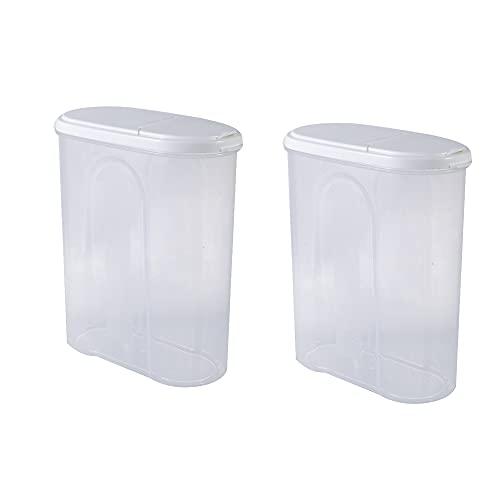 DYHDW 1 caja de almacenamiento de cocina de plástico dispensador de alimentos secos, 2 botes de almacenamiento y botes de plástico con tapa hermética, muy adecuado para cereales arroz pasta