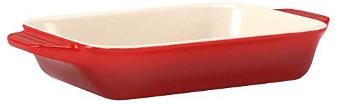 ル・クルーゼ(LeCreuset)深皿レクタンギュラー・ディッシュ(L)チェリーレッド耐熱耐冷電子レンジオーブン対応【日本正規販売品】