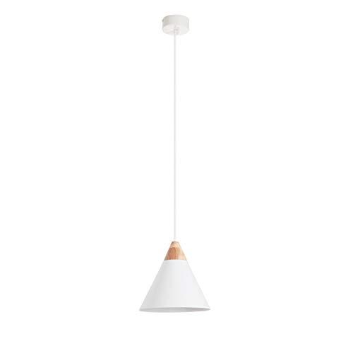 EXO Lighting - Lámpara de techo cónica ODA blanco. Colgante ODA estilo moderno escandinavo E27 (Ø20) interior IP20 para sala comedor.