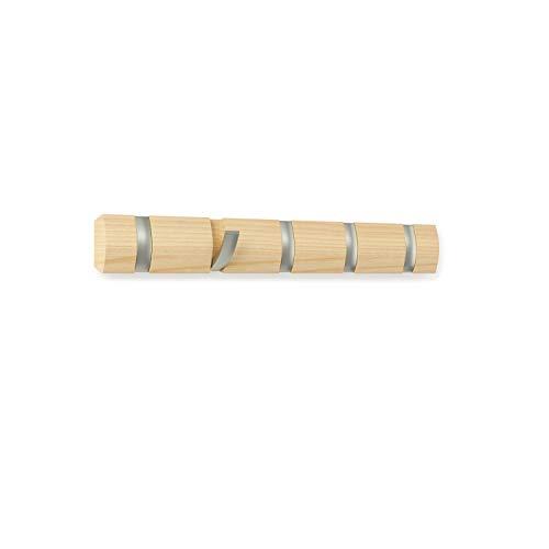 Umbra 318850-390 Perchero de pared con 5 ganchos extraíbles para varios abrigos, color madera, 50.8 x 6.5 x 3.1 cm,