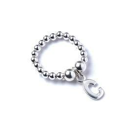 Roodles Sterling zilveren Ball Bead Ring met Initial C Bedel