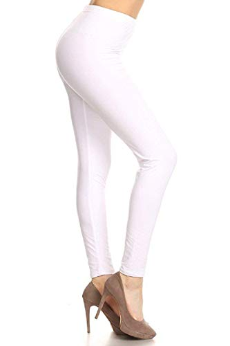 SXL128-White Basic Solid Leggings, Plus Size