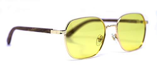 Óculos de Sol Dion Yellow, Mafia Wood Exclusive Wear, Adulto Unissex, Marrom, M