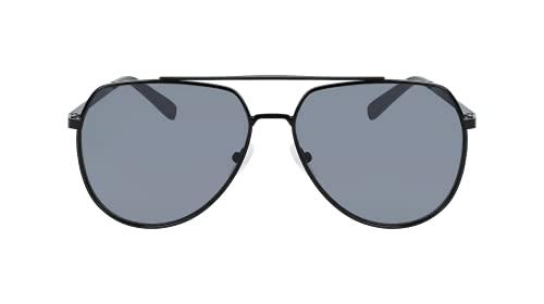 Calvin Klein Gafas de sol piloto Ck20124s para hombre, Negro brillante/humo sólido, Talla unica