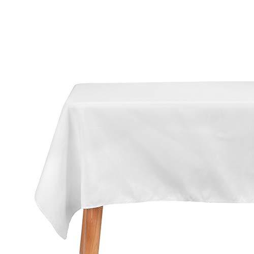 LUVODI Mantel Antimanchas Blanco Mantel Blanco Rectangular Mantel Poliéster Rectangular para Comedor Restaurante y Hotel - 132 x 229cm, Blanco