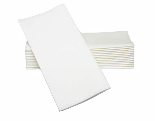 Simulinen Dinner Napkins - Decorative Napkins - Cloth Like & Disposable White with Pocket- Elegant & Durable - Soft & Absorbent - Large 17'x17' - Packaged for Easy Storage - Box of 75