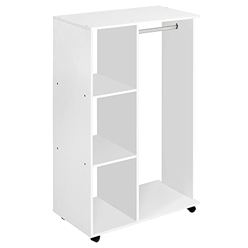 HOMCOM Open Wardrobe with Hanging Rail and Storage Shelves w/Wheels Bedroom-White