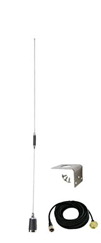 Tram 1180 1250 & 1255 Amateur Dual-Band NMO 38 inch Antenna VHF 144-148 & UHF 430-450 MHz for Mobile Radios with Cable & Mount
