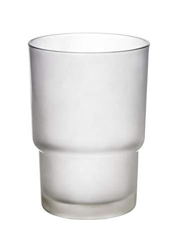 WENKO Ersatzzahnputzbecher für Wandserien - Zahnbürstenhalter für Zahnbürste und Zahnpasta, Glas, 7 x 9.5 x 7 cm, Satiniert