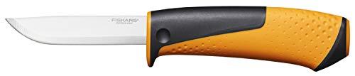 Fiskars Universalmesser inklusive Holster mit integriertem Messerschärfer, Gesamtlänge: 21,5 cm, Schwarz/Orange, 1023618