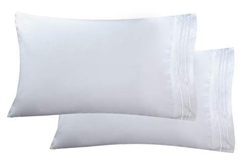 Luxury Ultra-Soft 2-Piece Pillowcase Set 1500 Thread Count Egyptian Quality Microfiber - Double Brushed - 100% Hypoallergenic - Wrinkle Resistant, Standard Size, White