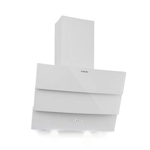 Klarstein Antonia - Dunstabzugshaube, Kopffreihaube, 350 m³/h, EEK B, Abluft oder Umluft, Touch-Bedienfeld, LED-Display, 2 zuschaltbare LEDs, 3-teilige Glasfront, Wandhaube, 60 cm, weiß