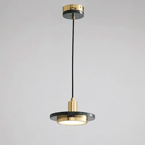 Lámparas colgantes de mármol de hierro forjado Lámpara de araña de interior de una sola cabeza Lámparas colgantes minimalistas modernas Luminaria LED 3000K Lámpara colgante Iluminación de la cabecera