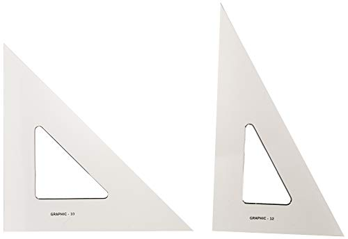 """Alvin, AS1012, Transparent Triangle Set, 10"""" and 12"""""""