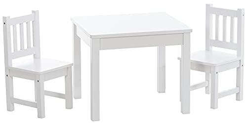 CLP Kinder Sitzgruppe Mides Aus Kiefernholz I Sitzgruppe Kinder I 3er Set Bestehend Aus Tisch Und 2 Stühlen, Farbe:weiß