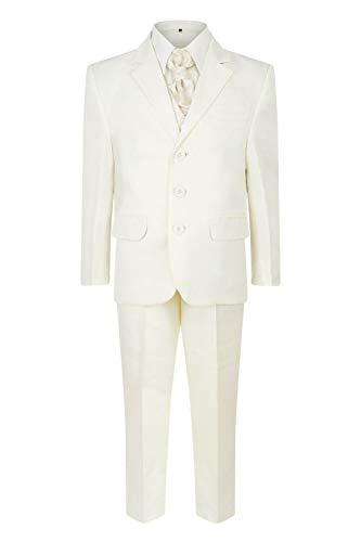 Conjunto de traje para niños de 5 piezas para bautizo, color blanco marfil, 1-15 años