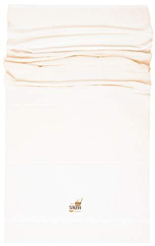 Lashuma XXL saunahanddoek München, kleur: crème - wit met sauna borduursel, ligstoel saunahanddoek extra breed 90 x 200 cm