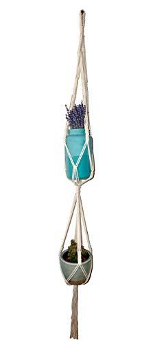 Suspension à double rangée de fleurs - Pour balcon et intérieur - Style indien bohème - Décoration de chambre - Macramé