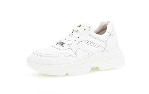 Gabor Damen Sneaker, Frauen Low-Top Sneaker,Best Fitting,Optifit- Wechselfußbett, strassenschuh schnürschuh sportschuh Damen,Weiss,37.5 EU / 4.5 UK