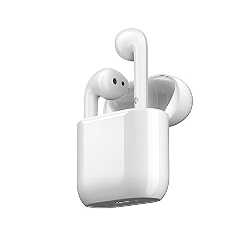 XJPB Auriculares inalámbricos Bluetooth, Auriculares HD Música, Tecnología de conducción ósea, Cancelación de Ruido, Controladores de 13 mm, Carga inalámbrica, para Montar, Fitness, Viajes,Blanco