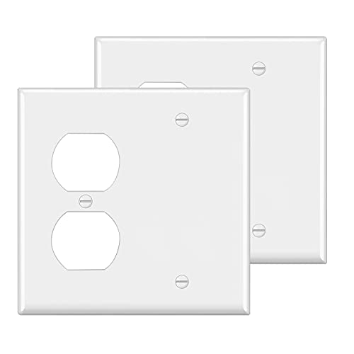 [2 Pack] BESTTEN 2-Gang Combination Light Switch Wall Plate, 1-Duplex/1-Blank Standard Size, Unbreakable Polycarbonate Receptacle Outlet Cover, UL Listed, White