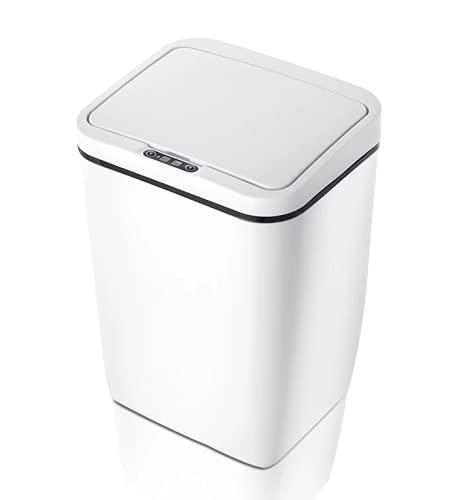E-NUC Cubo de Basura Inteligente (Sensor Infrarojos Automático, Eléctrico, 12L, Antibacterias, Apertura y Cierre sin Contacto, Rango de 30cm) - Blanco